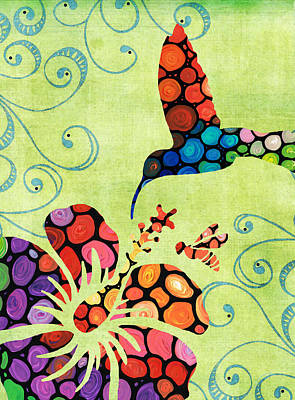 Whimsical Mixed Media - Nature's Harmony 2 - Hummingbird Art By Sharon Cummings by Sharon Cummings