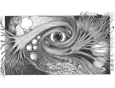 Pen And Ink Drawing - Nature's Intelligence by Michael Paul Gavazzi
