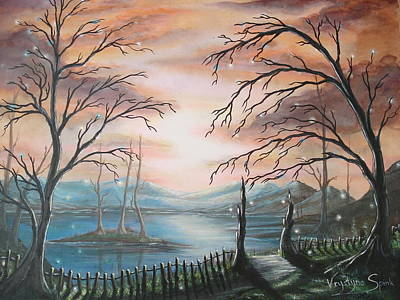 Branch Hill Pond Painting - Natures Lights by Krystyna Spink