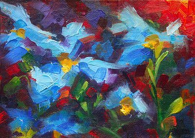 Painted Ladies Painting - Nature's Palette - Himalayan Blue Poppy Oil Painting Meconopsis Betonicifoliae by Talya Johnson