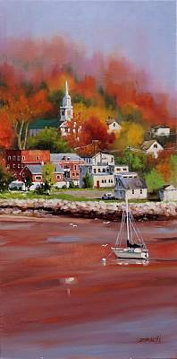 New England Village Painting - Natures Palette by Laura Lee Zanghetti