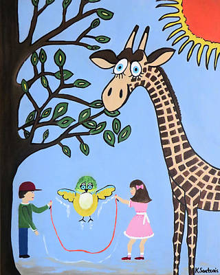 Giraffe Eyes Painting - Nature's Playground by Kathleen Sartoris