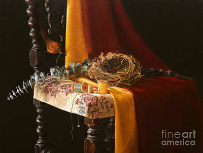 Red Thread Painting - Nature's Weaver by Barbara Groff