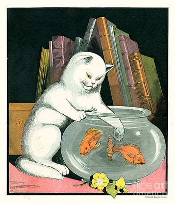 Naughty Cat Fishes For Goldfish In Fish Bowl Art Print