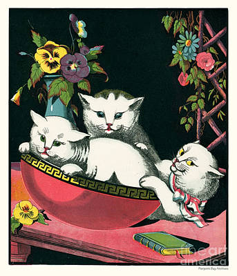 Artful And Whimsical Digital Art - Naughty Cats Play In Antique Pink Bowl With Book And Sweet Williams Flowers by Pierpont Bay Archives