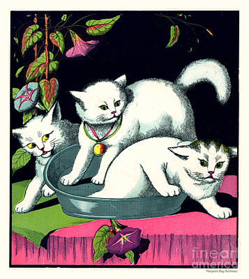 Naughty Cats Play In Tub On Table With Morning Glories Art Print