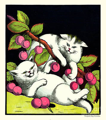 Naughty Cats Play With Cherries  Art Print