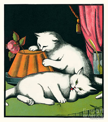 Artful And Whimsical Digital Art - Naughty Cats Preen And Lounge With Rose Topped Cake by Pierpont Bay Archives