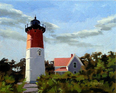 Point Guard Painting - Nauset Lighthouse Cape Cod Massachusetts by Christine Hopkins