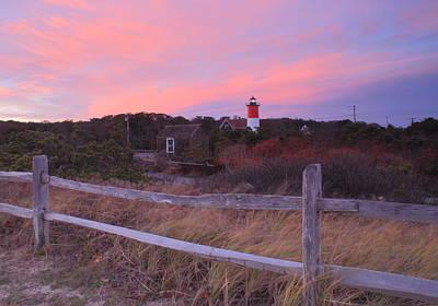 Photograph - Nauset Lighthouse November Sunset by John Burk
