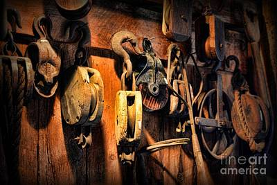 Wood Grain Photograph - Nautical - Boat - Block And Tackle  by Paul Ward