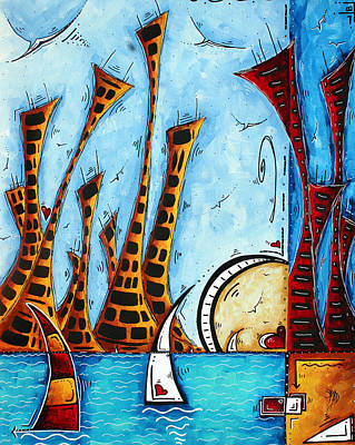 Nautical Coastal Art Original Contemporary Cityscape Painting City By The Bay By Madart Print by Megan Duncanson