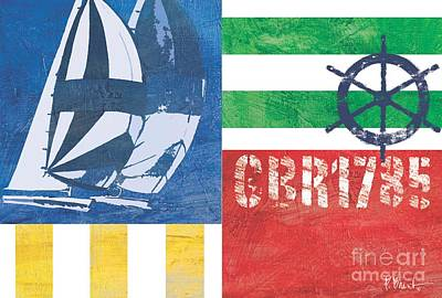 Blue Sailboat Painting - Nautical Flair II by Paul Brent