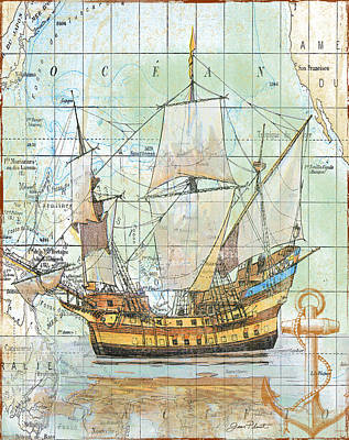 Vintage Map Digital Art - Nautical Journey-a by Jean Plout