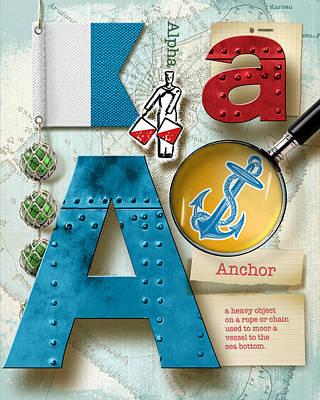 Phonetic Digital Art - Navy Alphabet  Nautical Letter A by Vanessa Bates