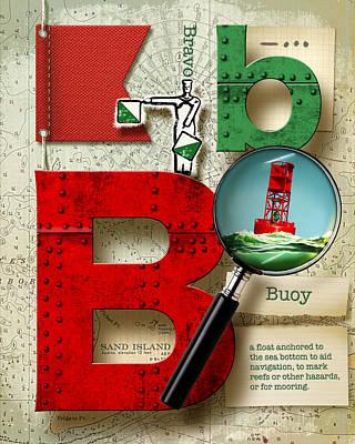 Navy Alphabet Nautical Letter B Art Print by Vanessa Bates