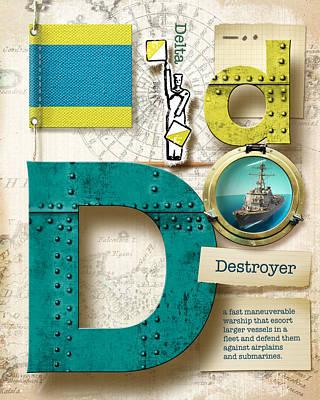 Phonetic Digital Art - Navy Alphabet Nautical Letter D by Vanessa Bates