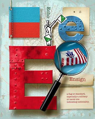 Phonetic Digital Art - Navy Alphabet Nautical Letter E by Vanessa Bates