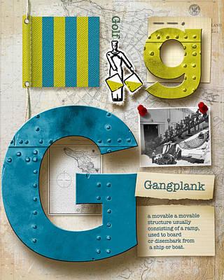 Navy Alphabet  Nautical Letter G Original