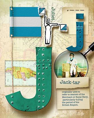 Phonetic Digital Art - Navy Alphabet Nautical Letter J by Vanessa Bates