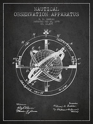 Digital Art - Nautical Observation Apparatus Patent From 1895 - Dark by Aged Pixel