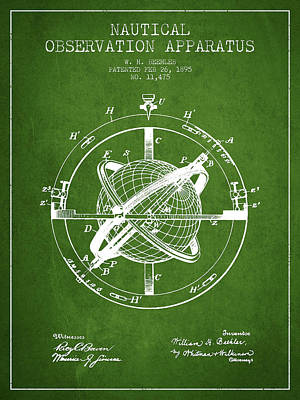 Digital Art - Nautical Observation Apparatus Patent From 1895 - Green by Aged Pixel