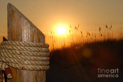 Nautical Rope Sunset Art Print