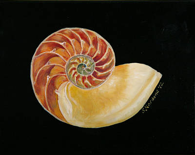 Print featuring the painting Nautilus Shell by Sandra Nardone