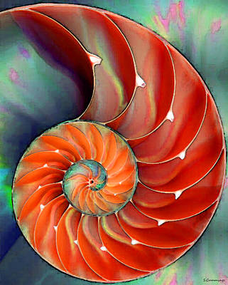 Red Abstract Painting - Nautilus Shell - Nature's Perfection by Sharon Cummings