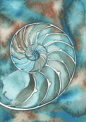 Turquoise Painting - Nautilus by Tamara Phillips