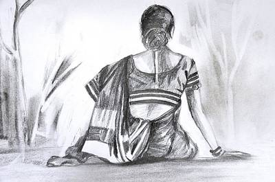 Drawing - Nauwari Sari by Parag Pendharkar
