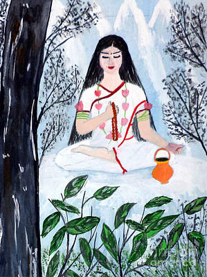 Parvati Painting - Nava Durga Brahmacharini by Pratyasha Nithin