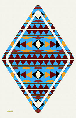 Native American Symbols Mixed Media - Navajo Blue Pattern Art by Christina Rollo