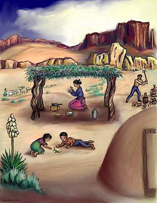Drawing - Navajo Family - Age 11 by Dawn Senior-Trask