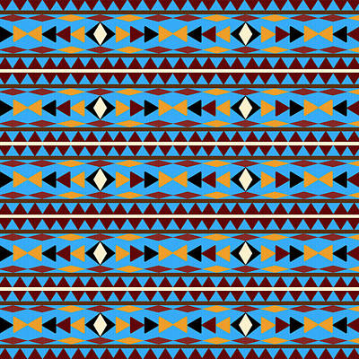 Mexican American Mixed Media - Navajo Blue Pattern by Christina Rollo