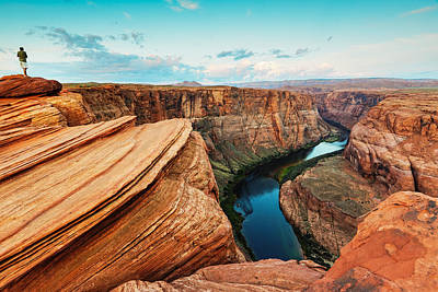 Northern Arizona Photograph - Navajo Sandstone Waves And Colorado River Horseshoe Bend Page Arizona II by Silvio Ligutti