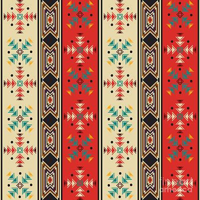 Tribal Wall Art - Digital Art - Navajo Style Pattern by Richard Laschon