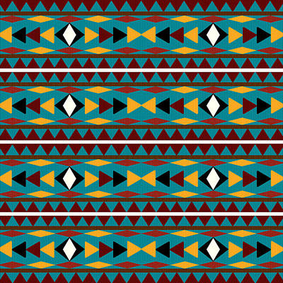 Tribal Wall Art - Mixed Media - Navajo Teal Pattern by Christina Rollo