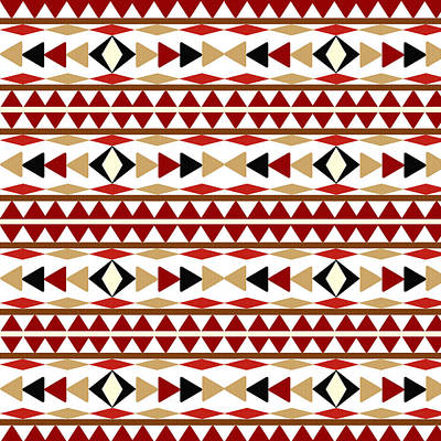 Tribal Wall Art - Mixed Media - Navajo White Pattern by Christina Rollo