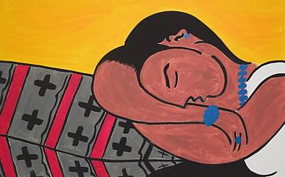 Acrylic Jewelry Painting - Navajo Woman With Black Hair by Antoinette Thompson