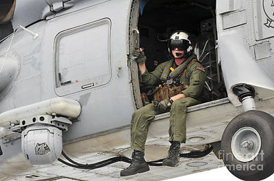 Naval Aircrewman Acts In An Sh-60b Sea Art Print by Stocktrek Images