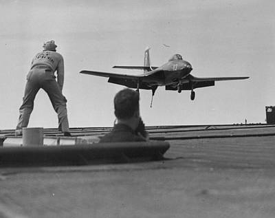 Stock Male Photograph - Naval Banshee Jet Plane by Retro Images Archive