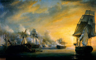 Painting - Naval Battle Between The French And The English Fleet Near Cadiz by Celestial Images