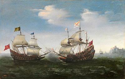 Naval Combat Off A Rocky Coastline Art Print