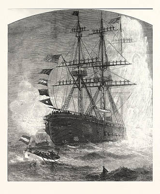 Antique Vessel Drawing - Naval Review Fortress Monroe Ceremonies The Presidents by American School
