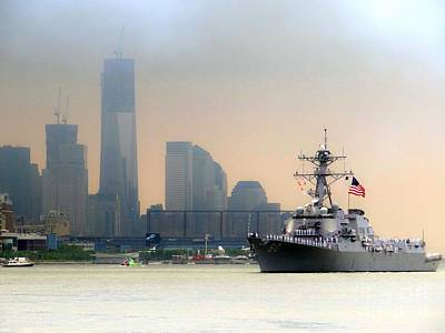 Photograph - Naval Ship Passes One World Trade Center by Ed Weidman