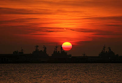 Gorgeous Photograph - Naval Ships At Sunset by Marcia Colelli