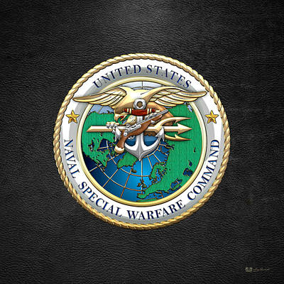 Digital Art - Naval Special Warfare Command - N S W C - Emblem On Black by Serge Averbukh