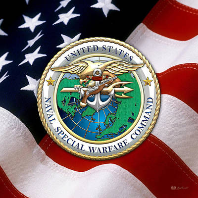 Digital Art - Naval Special Warfare Command - N S W C - Emblem Over American Flag by Serge Averbukh
