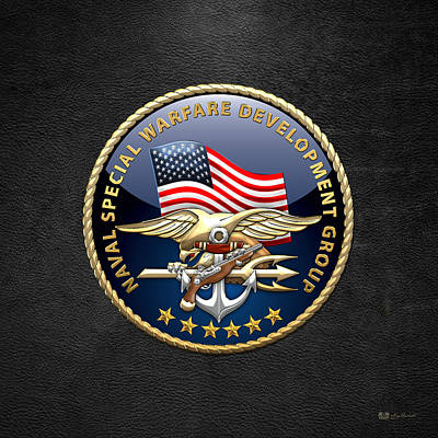 Development Digital Art - Naval Special Warfare Development Group - Devgru - Emblem On Black by Serge Averbukh